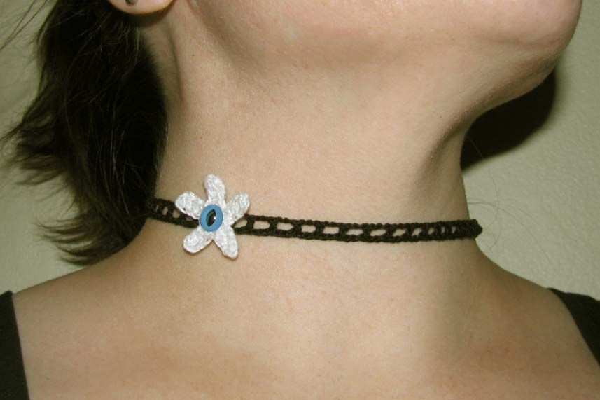 Snow Monster One-Eyed Flower Choker - Comfortable Fine Crocheted Jewelry - Exclusive Aberrant Crochet Original Design