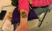 "Close up of Tracie's ""Crochet Or Die"" tattoo. (TracieCrochets)"