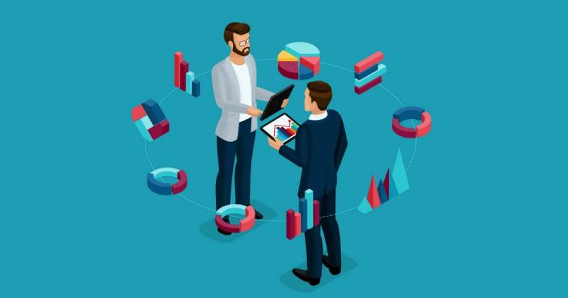 ilustração de dois homens e alguns gráficos em volta, representando a concorrência na contabilidade