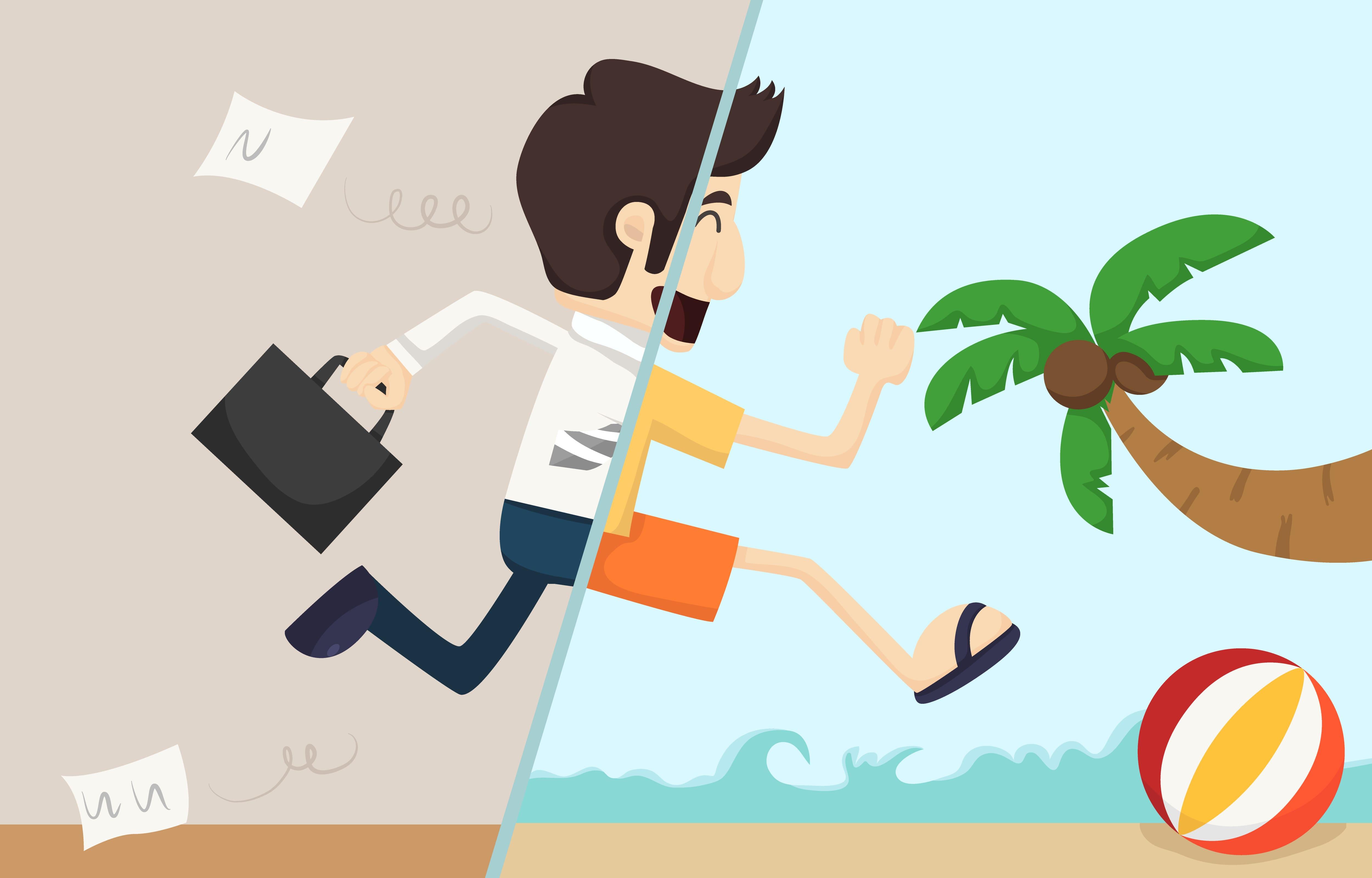 Imagem de um personagem metade empreendedor, metade de férias para remeter ao texto que fala sobre como fazer a gestão de férias dos colaboradores