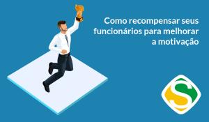 ilustração de um homem pulando com um troféu, representando as formas de recompensar funcionários