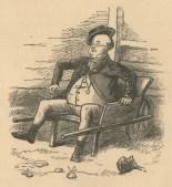 Mr Pickwick sat in a wheelbarrow. Frontipiece