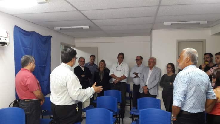 O presidente Sérgio Santos discursa na inauguração