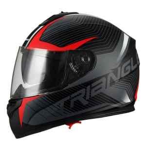 31940d38 Triangle Full Face Dual Visor Matte Black Street Bike Motorcycle Helmet