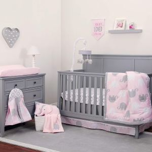 Pink/Grey Elephant 8 Piece Comforter Set