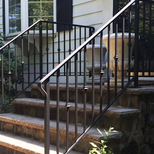 Handrail Installation Companies Custom Handrails Stairway Railings | Exterior Handrails For Steps | Cast Iron | 3 Step | Brushed Nickel | Front Step Railing Pipe | Garden