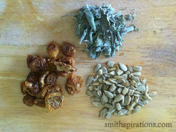 dried tomatoes, seeds, herbs