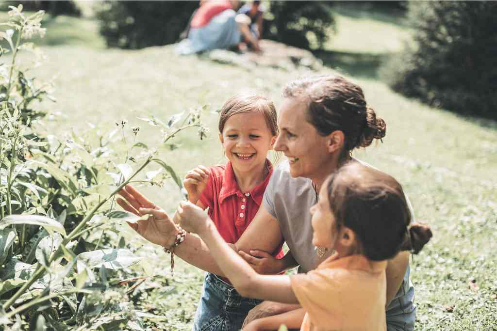 showing herbs to kids