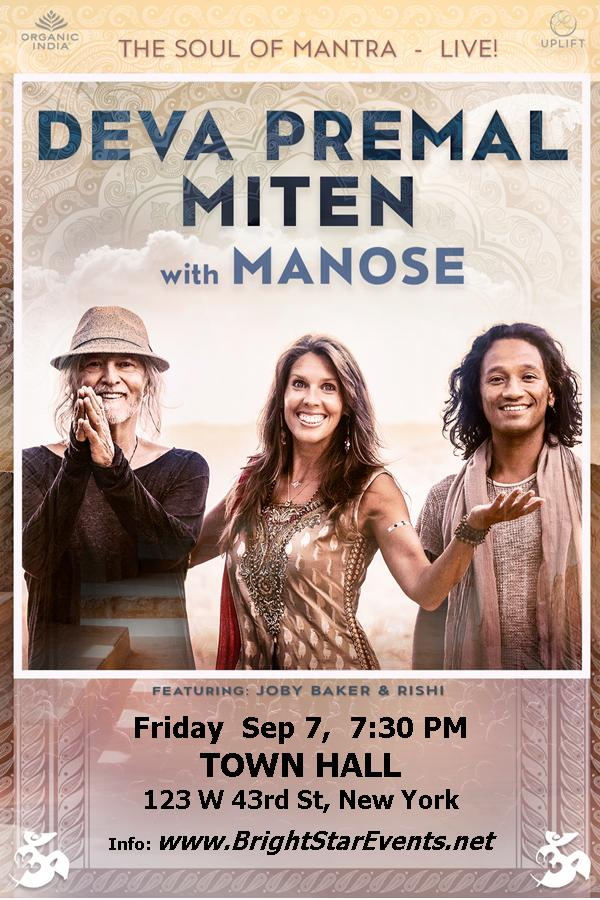 Deva Premal, Miten with Manose at Town Hall, NYC Sept. 7