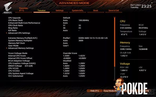GIGABYTE Z590 AORUS Pro AX Review BIOS overclocking
