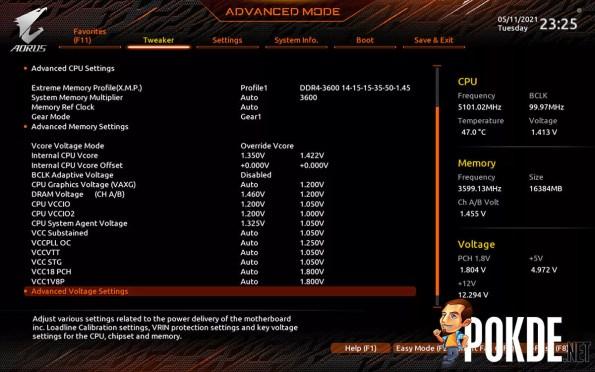 GIGABYTE Z590 AORUS Pro AX Review BIOS voltage