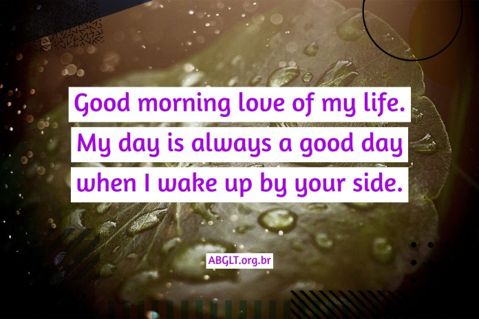 Good morning love of my life. My day is always a good day when I wake up by your side.