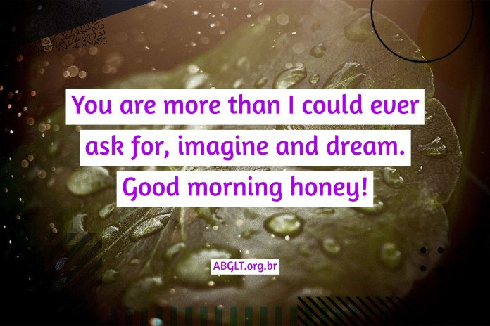 You are more than I could ever ask for, imagine and dream. Good morning honey!