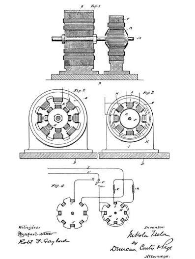 الرسومات 1،2،3،4 من إختراع المحرك الكهربي المغناطيسي