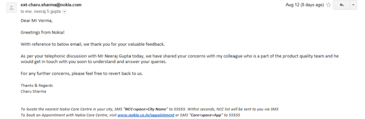 Communication from Nokia India