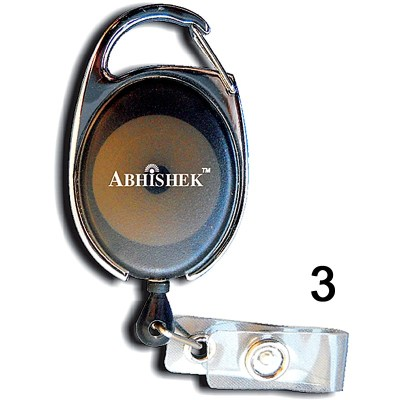 Black Retractor for id card in Regular thread quality in Oval shape for executive, professional and business use. It can also be hanged along with the belt
