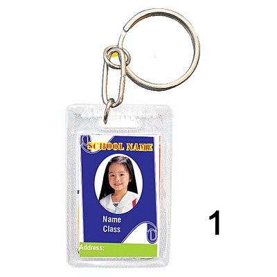 Transparent key chain of size 27x40.5 mm in Rectangle  shape designed for id card holder, company event or school custom logo. Fully customizable and personalized with thousands of designs and prints  You may also refer keychains as ket tags, key rings,