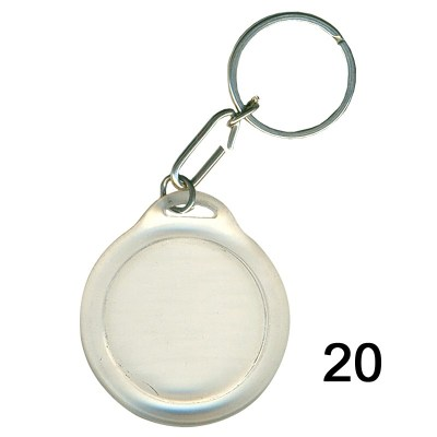 Transparent key chain of size 35x 35 mm in Round  shape designed for id card holder, company event or school custom logo. Fully customizable and personalized with thousands of designs and prints  You may also refer keychains as ket tags, key rings, id ca