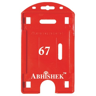 Double Hole Insert Holder of size 54x86 mm in Red Colour and Vertical OrientationIt is ideal for business, schools and organization for all there ID card needs. Not only it protects the keep the id cards safe but also provides high branding value and per