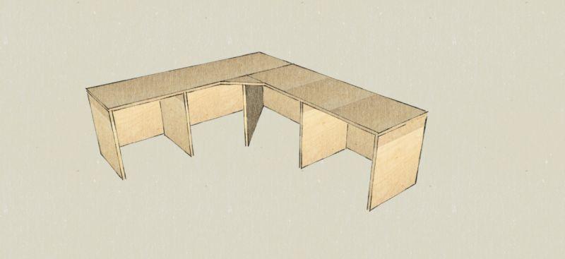 meubel ontwerp schets tekening design massief maatwerk meubelmaker nijmegen hoekbank studenten studentenkamer studentenhuis underlayment plaatmateriaal multiplex witgebeitst