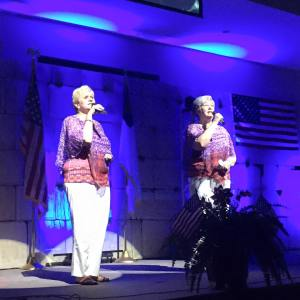 Sylvia Edwards singing at Clearview with her sister Linda Twisdale