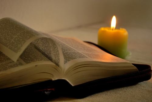 Candle and Bible picture.