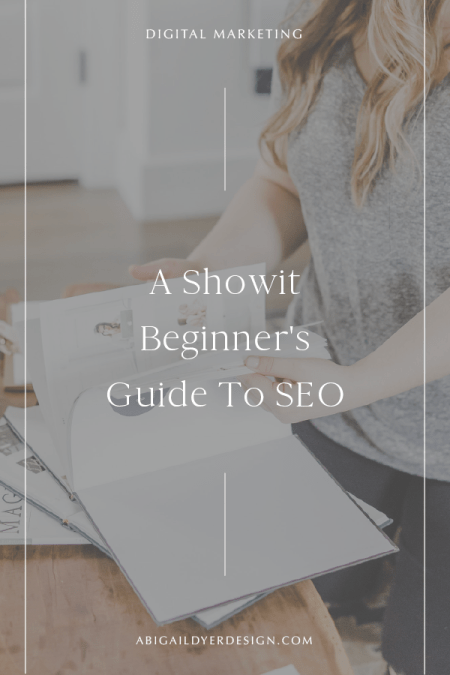 girl looking through magazine with text overlay – a showit beginners guide to seo