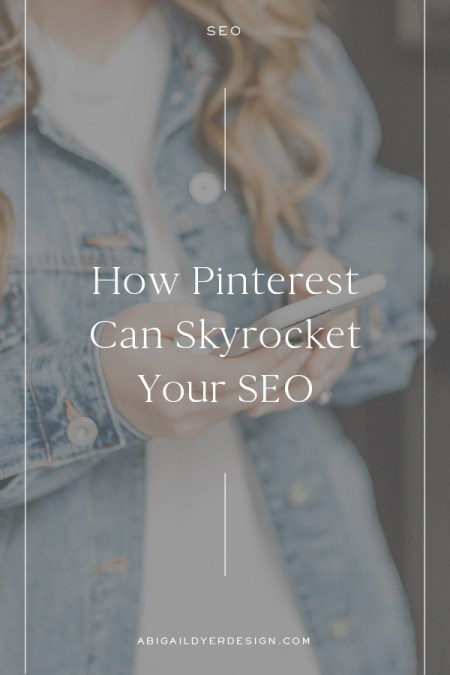 women typing on phone with text overlay – how pinterest can skyrocket your SEO