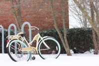 A bike becomes buried in snow during the unexpected winter storm outside of Brooks Hall on March 1, 2016.