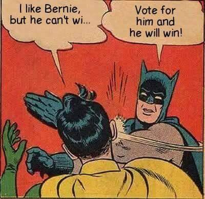 Batman Robin Vote for Bernie Sanders slap comic