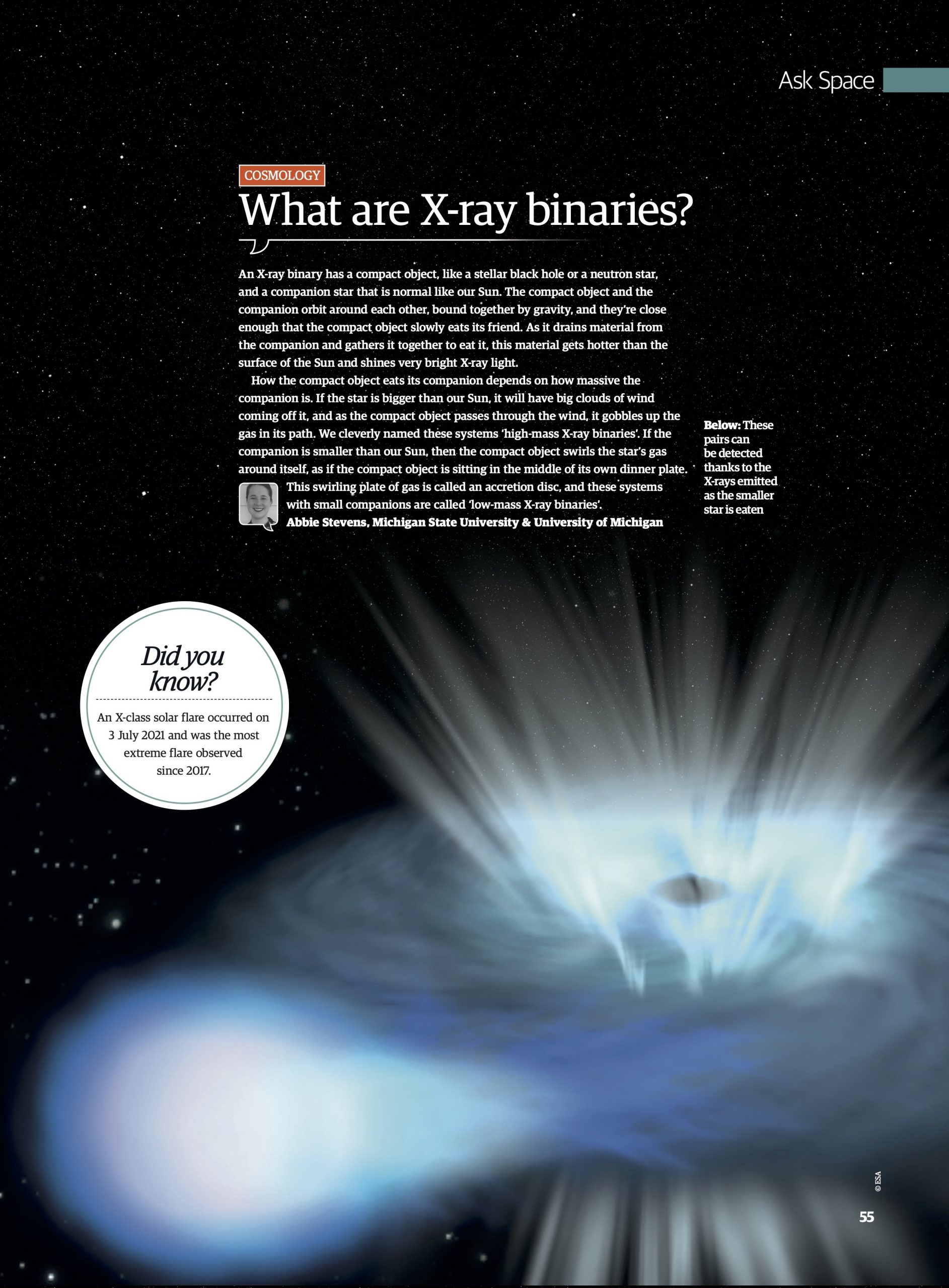 Digital magazine page with text overlaying a picture of a low-mass X-ray binary. Transcript in text on blogpost page. Caption: These pairs can be detected thanks to the X-rays emitted as the smaller star is eaten. Did you know? An X-class solar flare occurred on 2 July 2021 and was the most extreme flare observed since 2017.