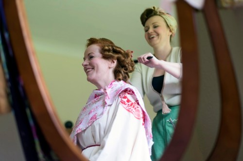 The Guildhall and Case restaurant in Leicester Hair and Make up Pin Curls and Pompadous Dress by Abigail Vintage Bridal
