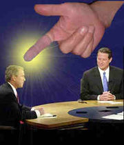 God hand-picks George W. Bush for President in 2000 when Florida is unable to make up its mind. (Dramatization)
