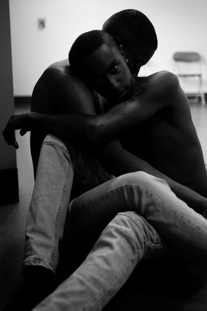 affection black and white black male black people