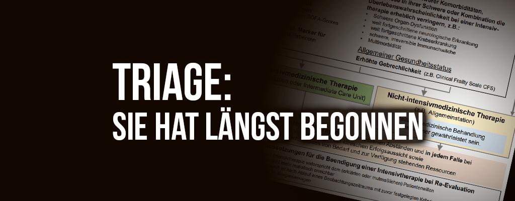 Text: Triage - Sie hat längst begonnen