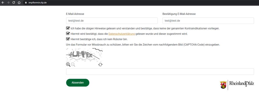 Screenshot impftermin.rlp.de: Formular mit Bild-Captcha