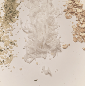hemp seeds, sweetened coconut and oats
