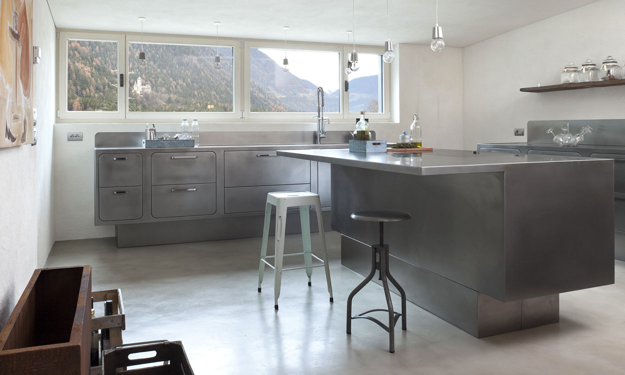stainless kitchen white aid bespoke steel kitchens by abimis for any location a amid the peaks of south tyrol