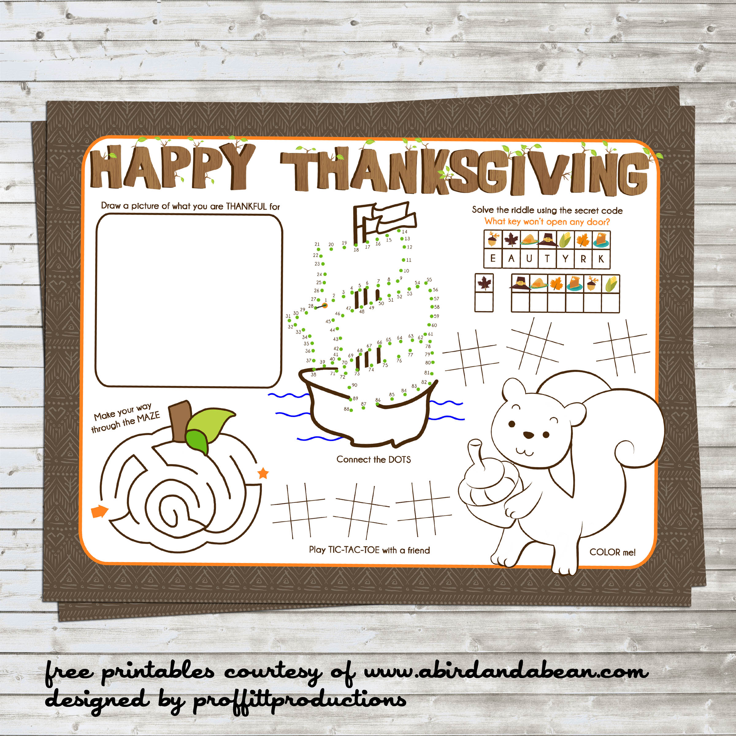 Free Printable Thanksgiving Placemat For The Kids
