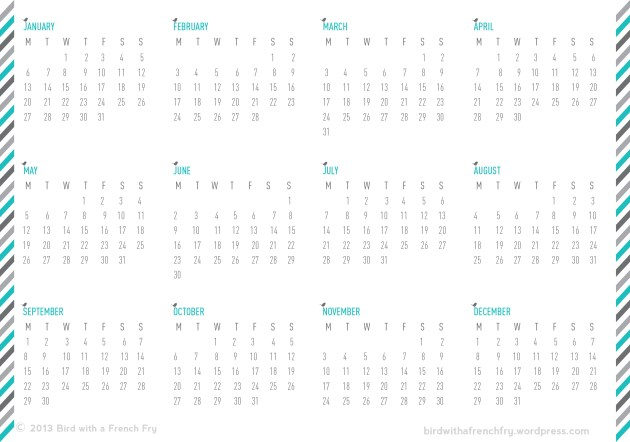 A5 year calendar