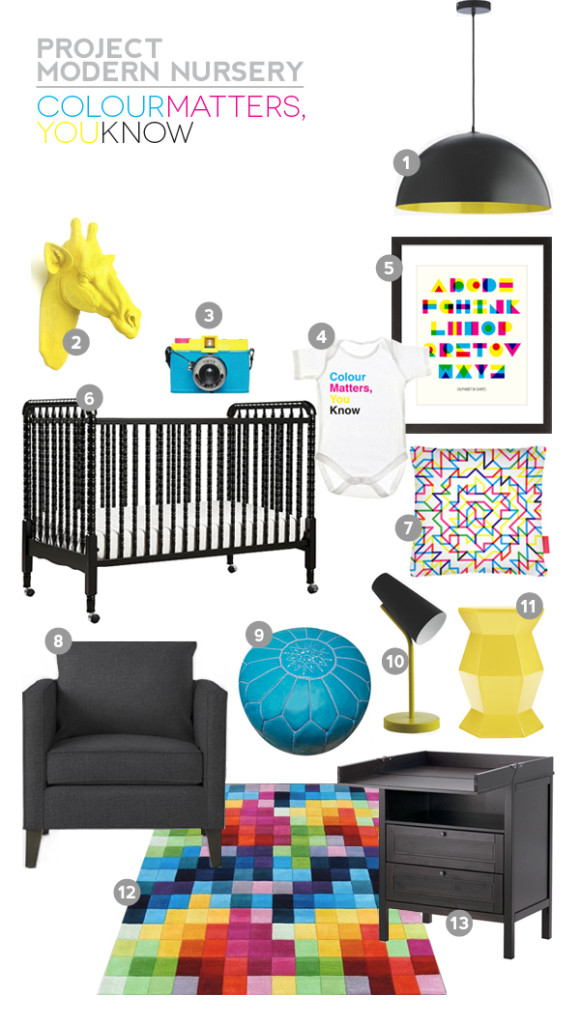 Project Modern Nursery: Colour Matters, You Know (CMYK) Nursery Style Board. A little quirky, a little fun, a lot of colour. www.abirdwithafrenchfry.com #nurserystyle #cmyk #design #interiors