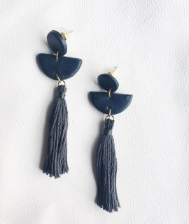 A Bird with a French Fry - Drop Tassel Earring Midnight Grey