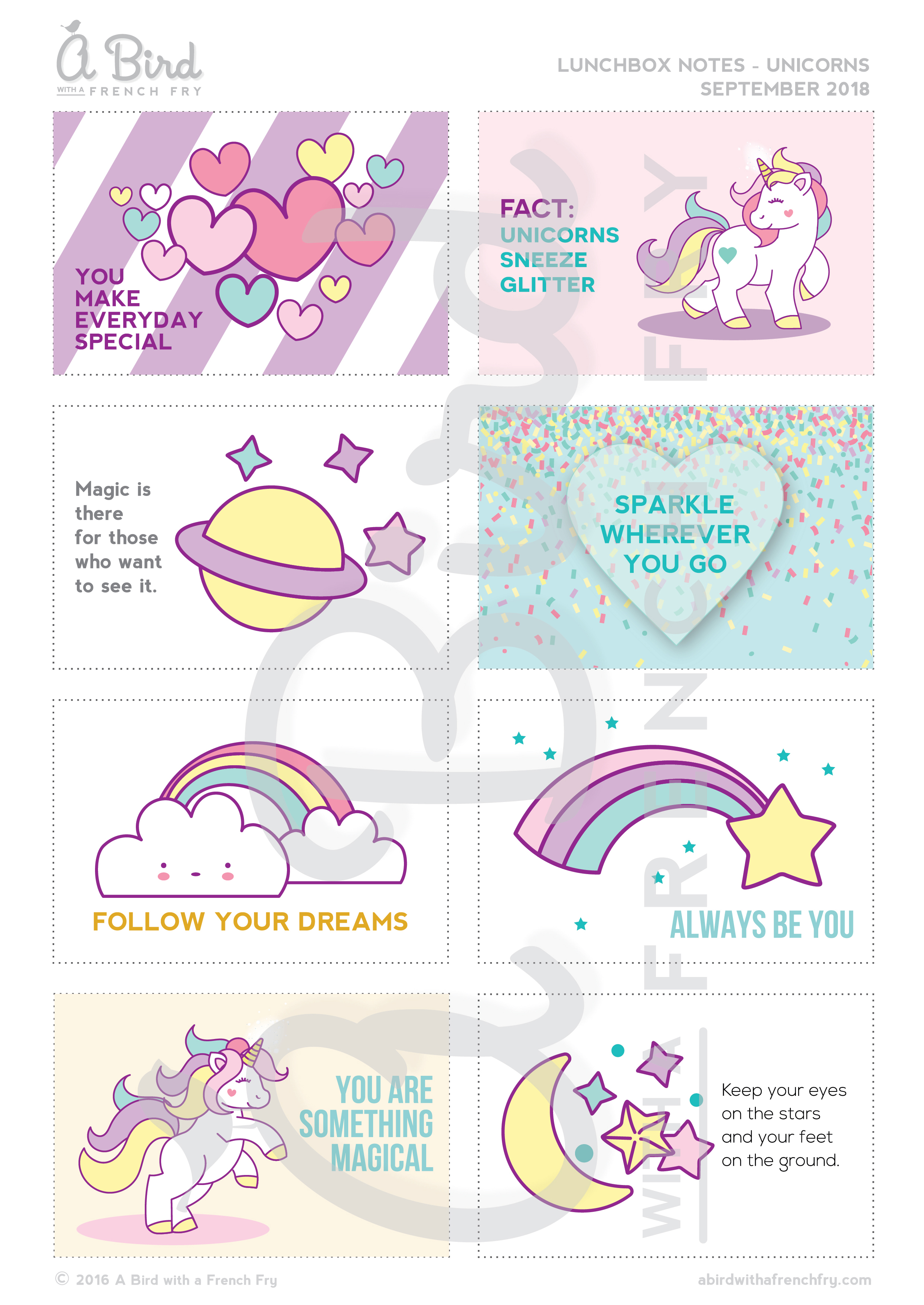 image regarding Printable Lunch Notes identify Lunchbox Notes - Unicorns Rainbows