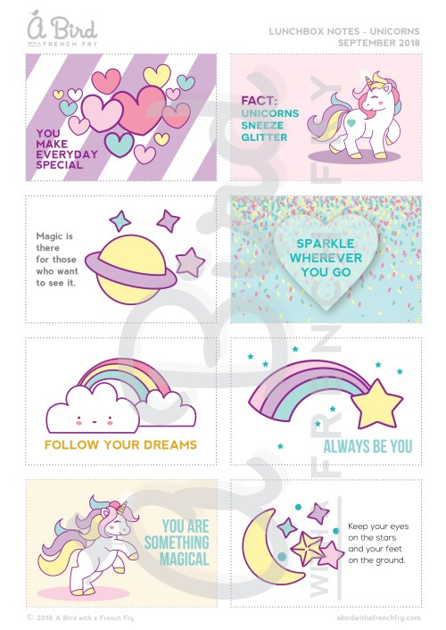 unicorn lunchbox notes