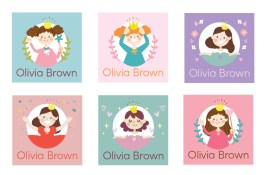 A Bird with a French Fry - Personalised Name Labels - Princess Power