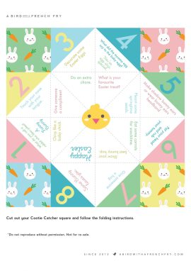 A Bird with a French Fry - Easter Cootie Catcher Printable Template