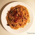 Spaghetti with Grape Tomato and 3 Olive sauce
