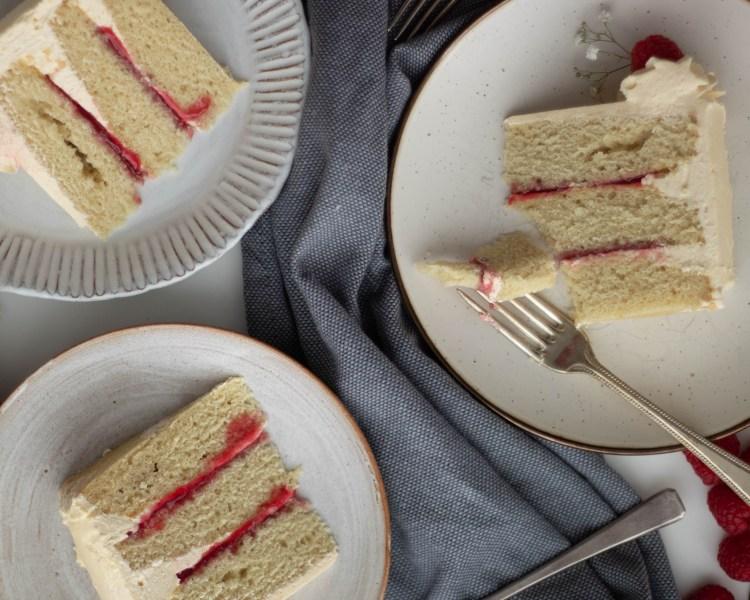 3 slices of white Oreo and raspberry cake