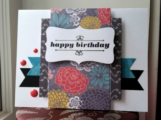 A Bit Of Glue & Paper- handmade birthday card with floral patterned paper, teal and black die cut flags, red enamel dots; Freshly Made Sketches 279 - Vancouver BC