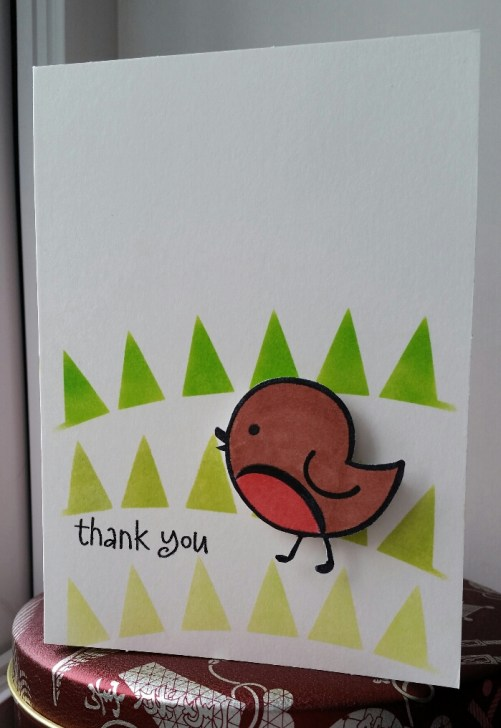 A Bit Of Glue & Paper - handmade thank you card with stamped and coloured bird, green inked triangle grass; CAS(E) This Sketch 217 #CTS217 - Vancouver BC
